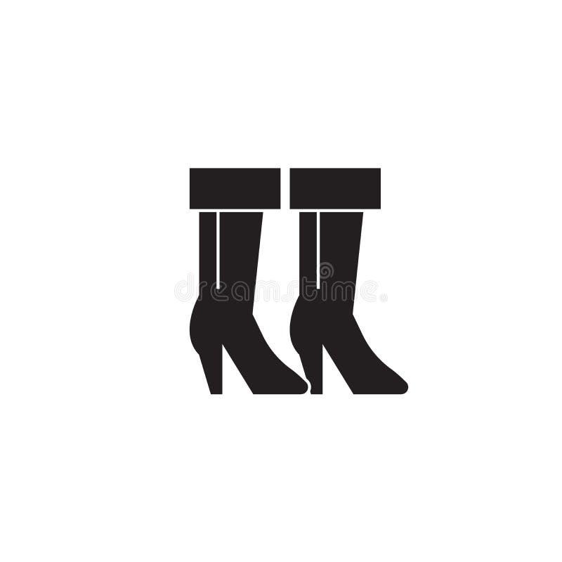 Значок концепции вектора ботинок ковбоя черный Иллюстрация ботинок ковбоя плоская, знак иллюстрация штока