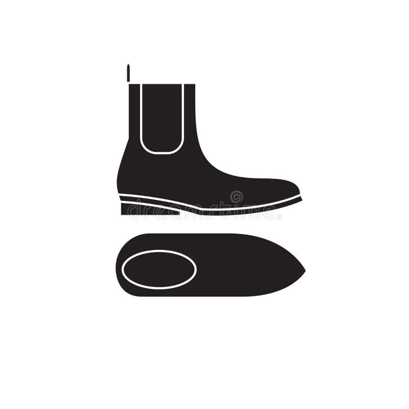 Значок концепции вектора ботинок Челси черный Иллюстрация ботинок Челси плоская, знак иллюстрация вектора