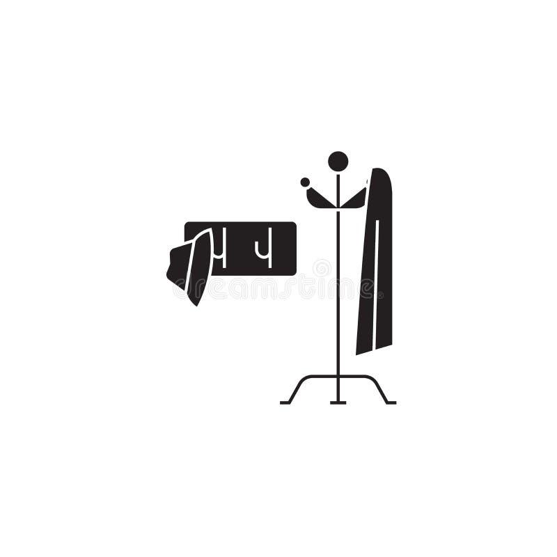 Значок концепции вектора черноты вешалки одежд Иллюстрация вешалки одежд плоская, знак бесплатная иллюстрация