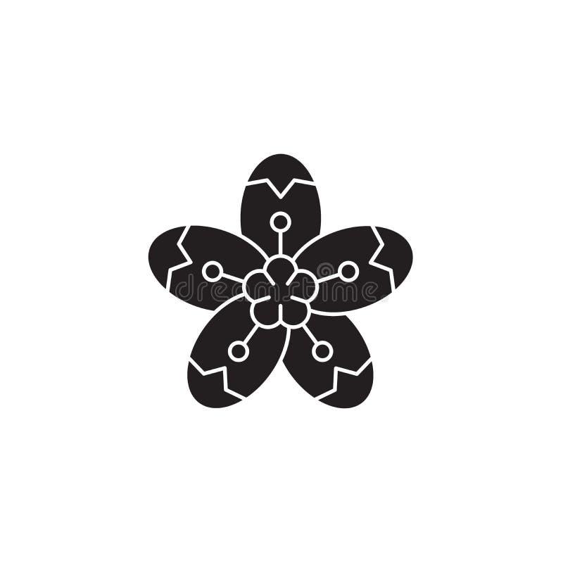 Значок концепции вектора черноты груши Иллюстрация груши плоская, знак иллюстрация вектора