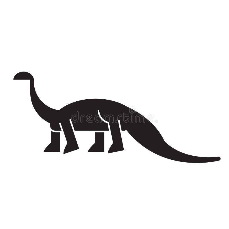Значок концепции вектора черноты диплодока Иллюстрация диплодока плоская, знак бесплатная иллюстрация