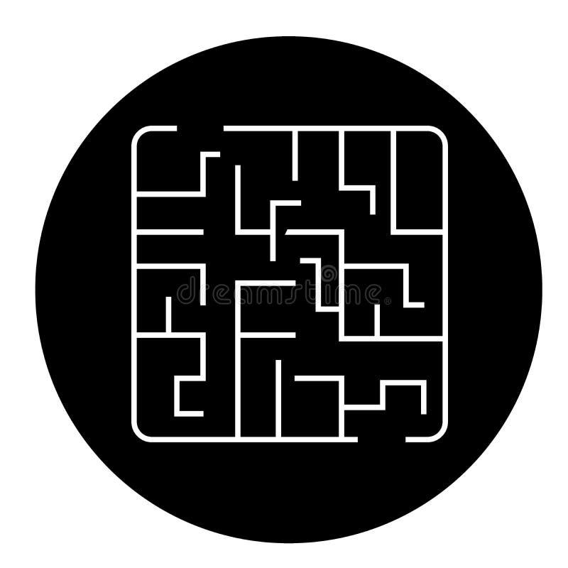 Значок концепции вектора черноты лабиринта Иллюстрация лабиринта плоская, знак иллюстрация штока
