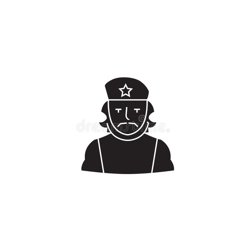 Значок концепции вектора черноты Че Гевара Иллюстрация Че Гевара плоская, знак иллюстрация вектора