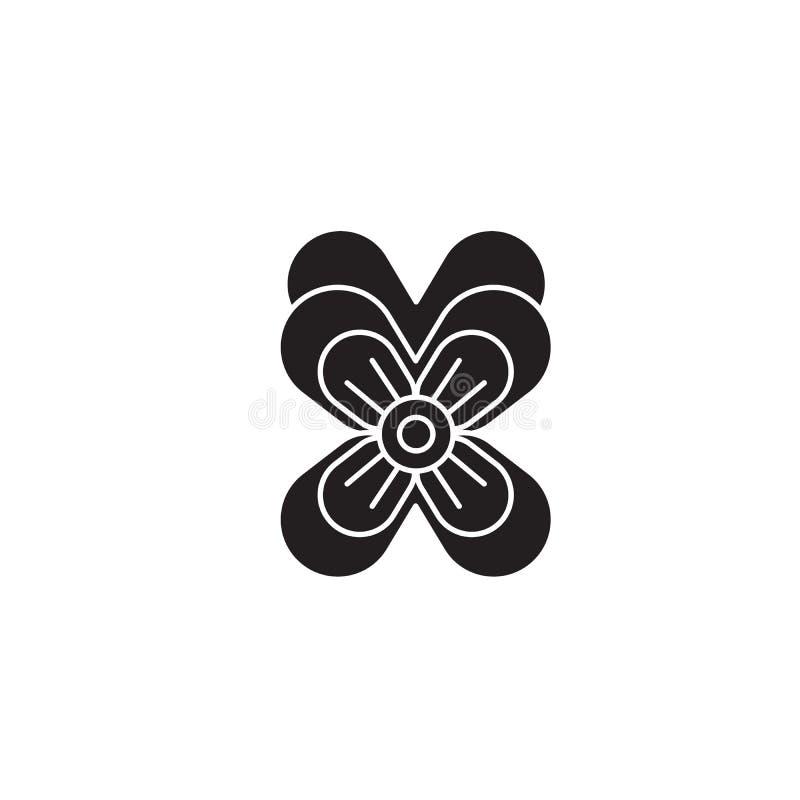 Значок концепции вектора черноты Pansy Иллюстрация Pansy плоская, знак бесплатная иллюстрация