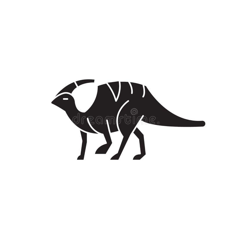 Значок концепции вектора черноты Parasaurolophus Иллюстрация Parasaurolophus плоская, знак иллюстрация вектора