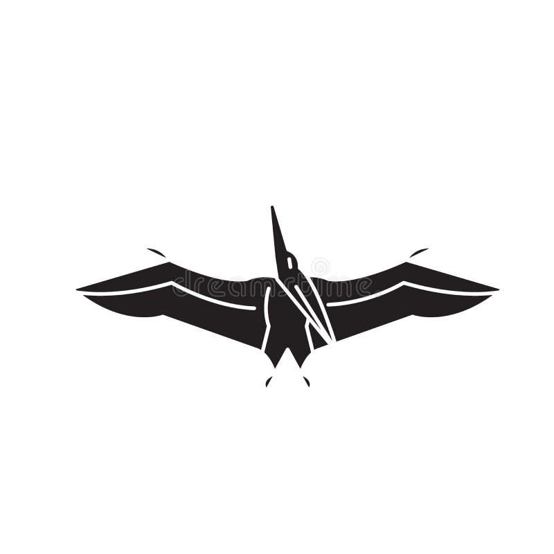 Значок концепции вектора черноты Pteranodon Иллюстрация Pteranodon плоская, знак бесплатная иллюстрация