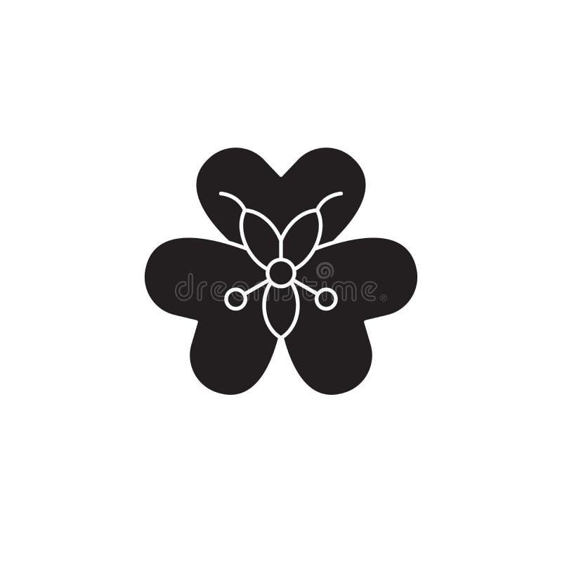 Значок концепции вектора Alstroemeria черный Иллюстрация Alstroemeria плоская, знак иллюстрация вектора