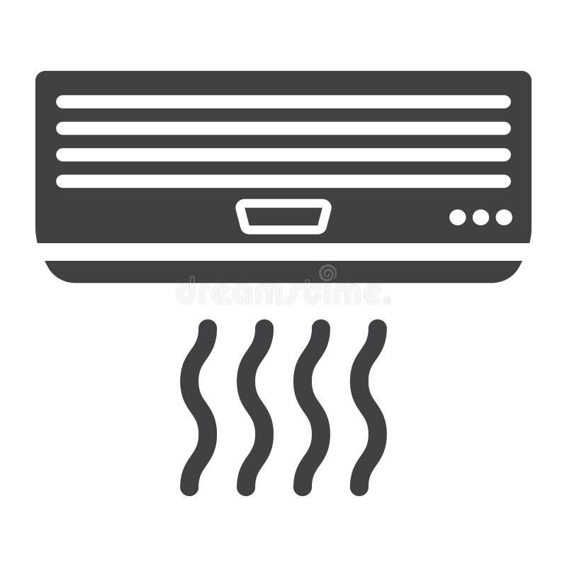 Значок кондиционера воздуха твердый, электрический и прибор иллюстрация штока
