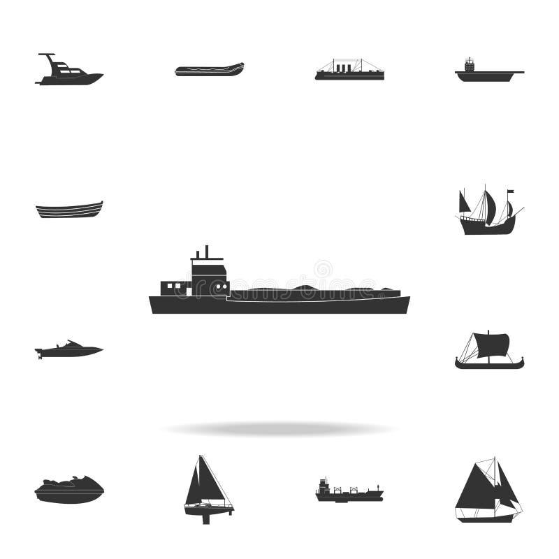 значок корабля баржи Детальный комплект значков водного транспорта Наградной графический дизайн Один из значков собрания для вебс иллюстрация штока