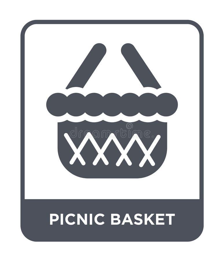 значок корзины пикника в ультрамодном стиле дизайна значок корзины пикника изолированный на белой предпосылке значок вектора корз иллюстрация вектора