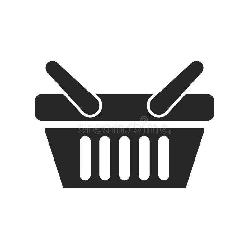 Значок корзин для товаров на белой предпосылке, для любого случая иллюстрация вектора