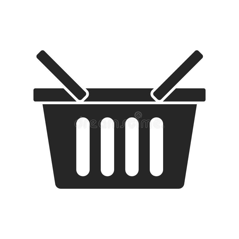 Значок корзин для товаров на белой предпосылке, для любого случая иллюстрация штока