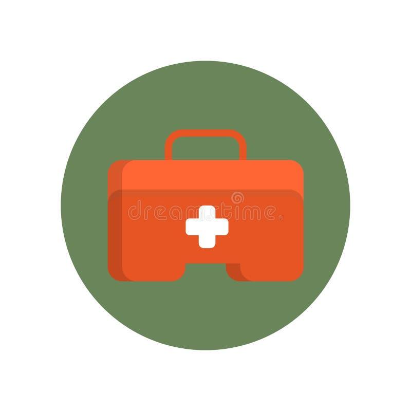 Значок коробки бортовой аптечки плоский в зеленом круге для сети иллюстрация штока