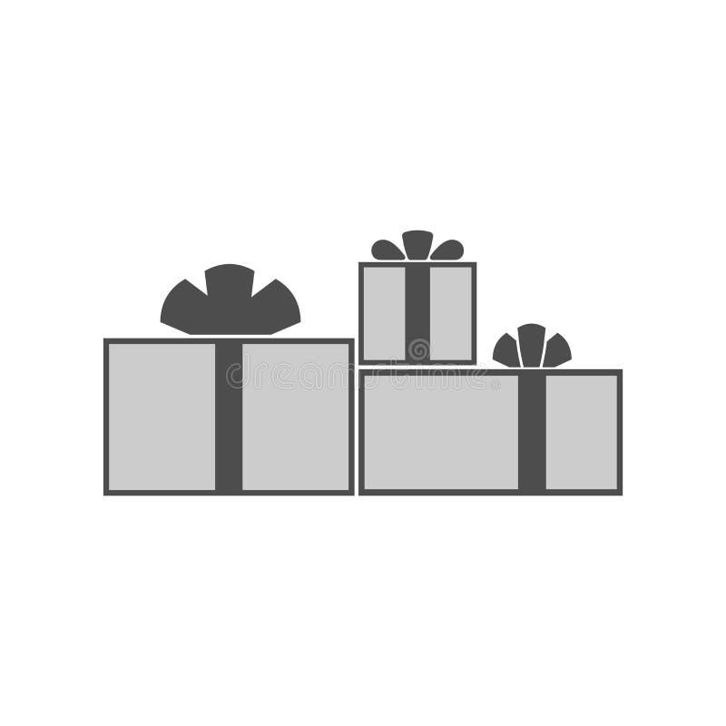 Значок коробки подарков плоский присутствующий иллюстрация штока