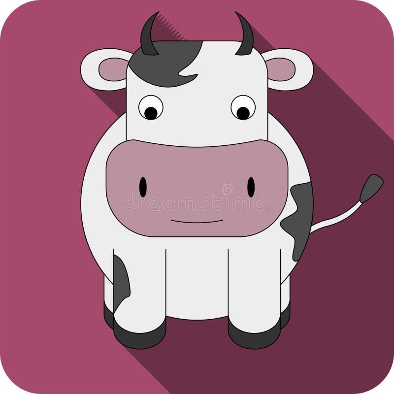 Значок коровы вектора плоский стоковое изображение rf