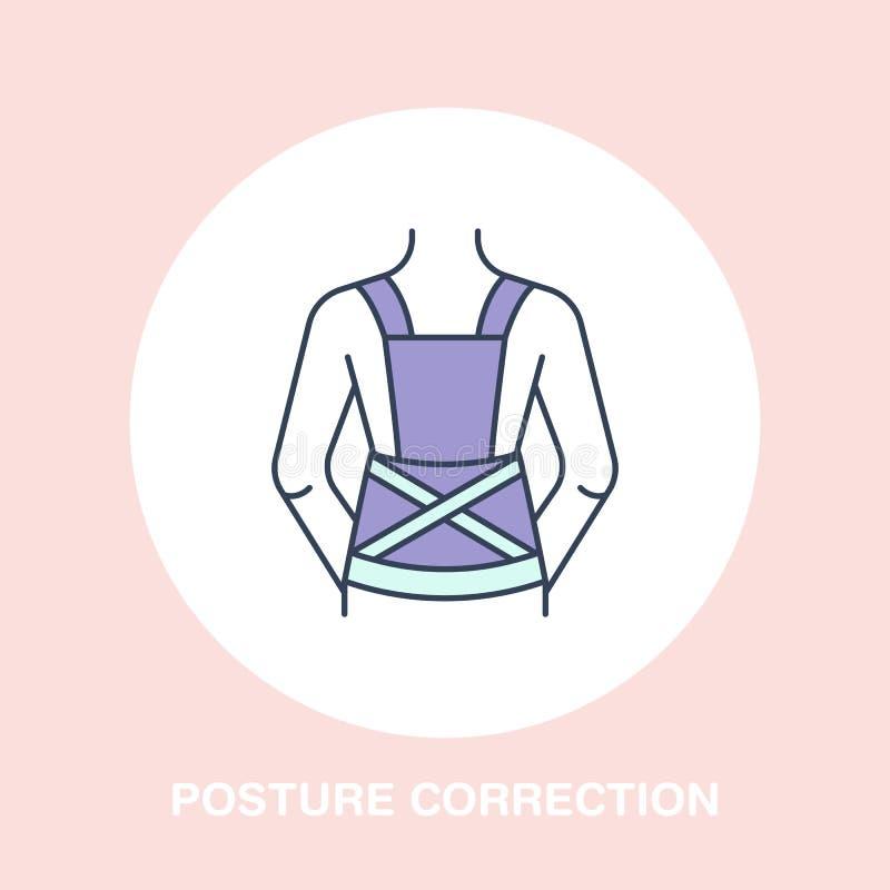 Значок коррекции позиции, линия логотип Плоский знак для магазина оборудования реабилитации травмы иллюстрация вектора