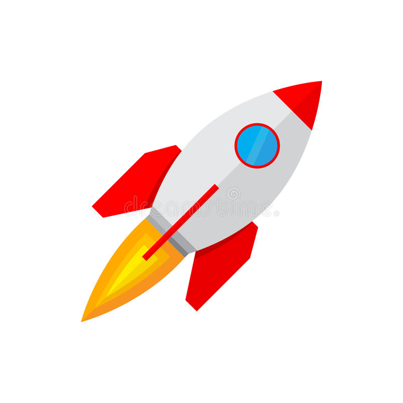 Значок космического корабля в плоском дизайне иллюстрация иллюстрация вектора