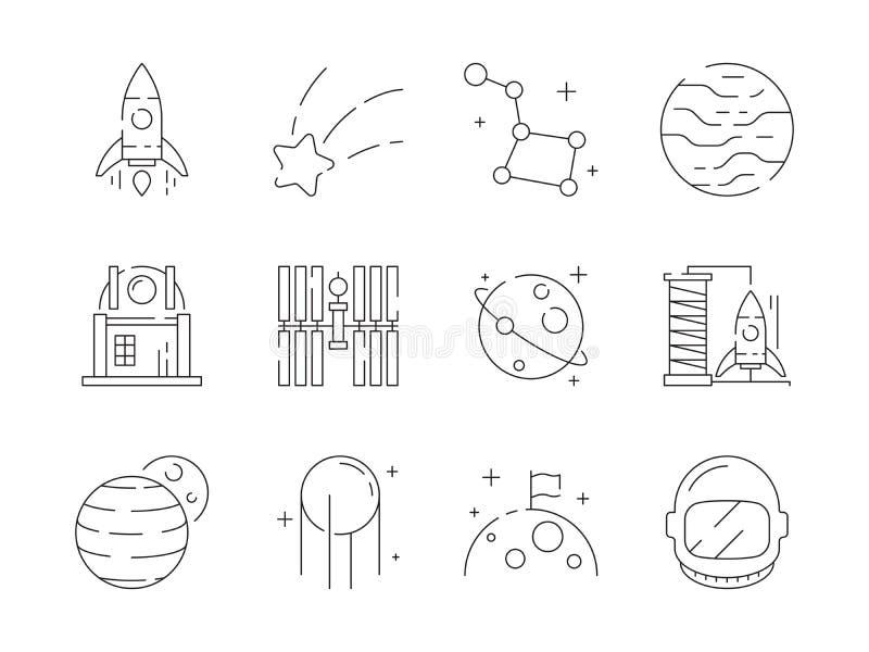 Значок космоса тонкий Звезды обсерватории ракеты астронавта открытия земли вселенной выдвигают символы плана вектора чужеземца бесплатная иллюстрация