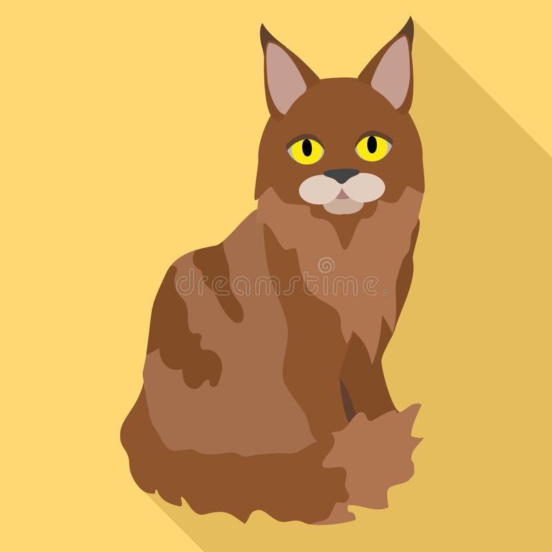 Значок кота енота Мейна, плоский стиль иллюстрация штока