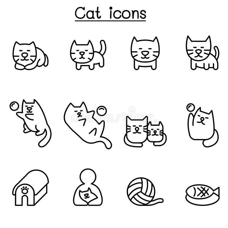Значок кота установленный в тонкую линию стиль иллюстрация штока