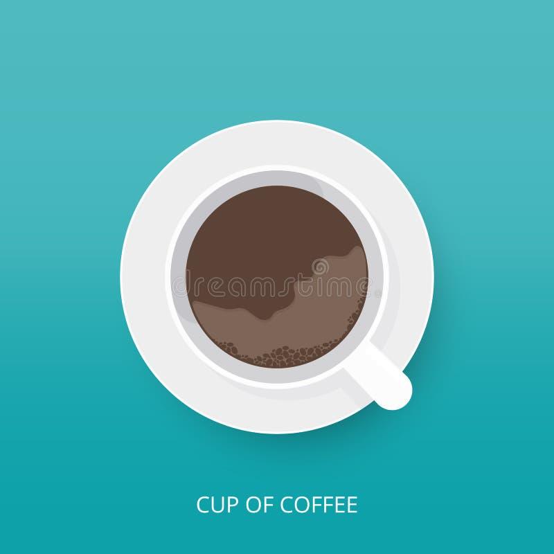Значок кофейной чашки в современном плоском стиле Взгляд сверху чашки кофе с поддонником также вектор иллюстрации притяжки corel иллюстрация штока