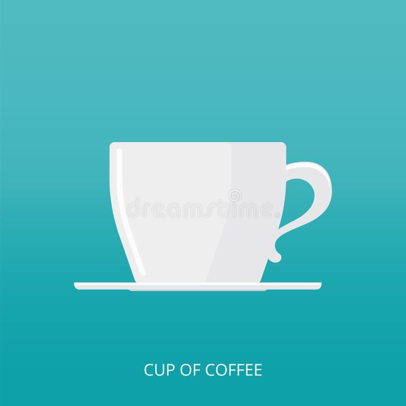 Значок кофейной чашки в современном плоском стиле Взгляд со стороны чашки кофе с поддонником также вектор иллюстрации притяжки co бесплатная иллюстрация