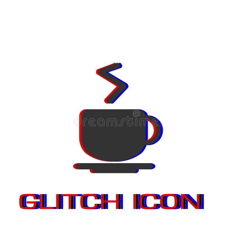 Значок кофейной чашки плоско иллюстрация штока