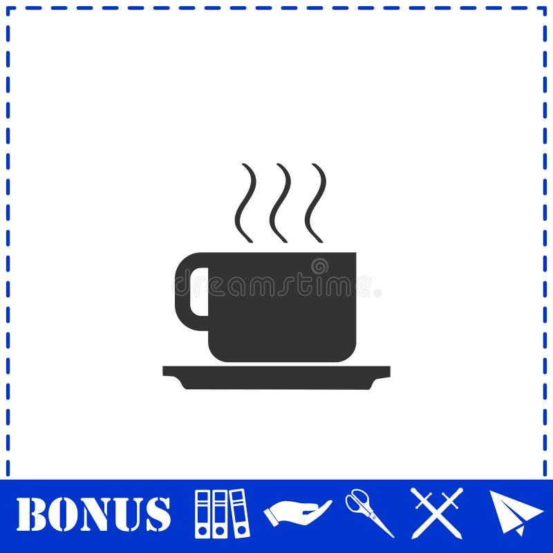 Значок кофейной чашки плоско иллюстрация вектора