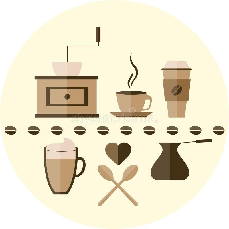 Значок кофе плоский стоковые изображения rf
