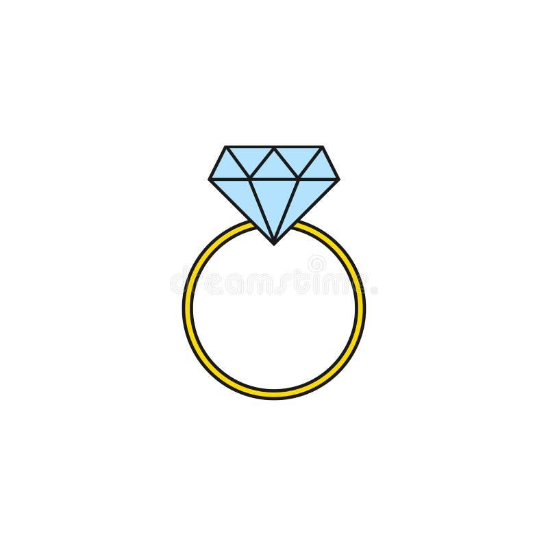 Значок кольца с бриллиантом свадьбы твердый, обручальное кольцо иллюстрация штока