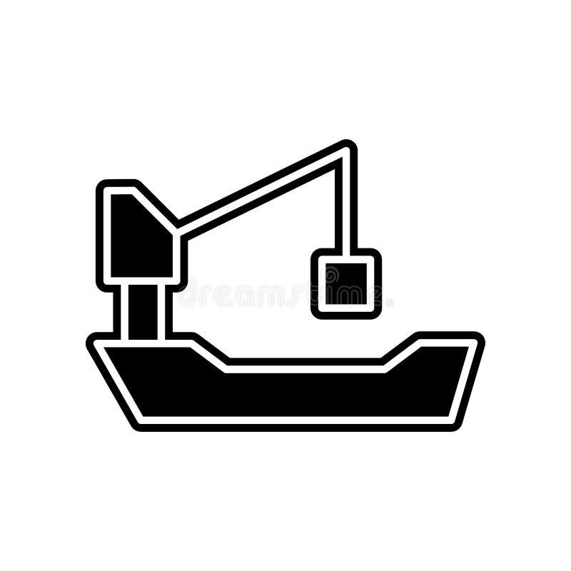 Значок крана корабля Элемент снабжения для мобильных концепции и значка приложений сети Глиф, плоский значок для дизайна вебсайта иллюстрация штока