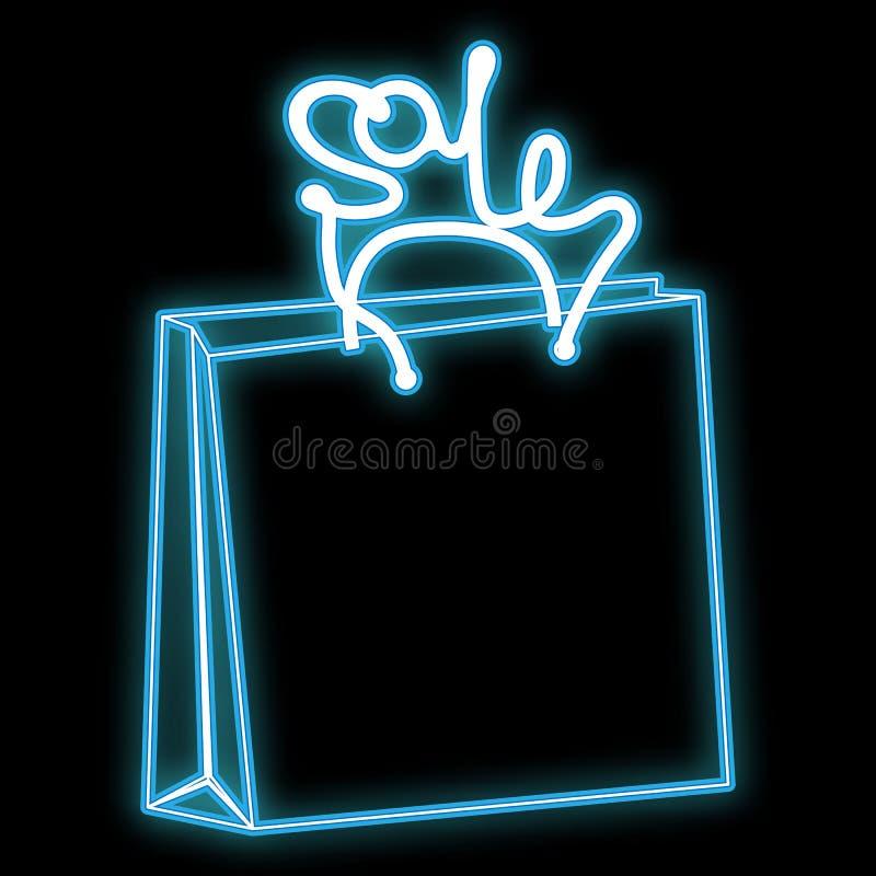 Значок красивого конспекта неоновый голубой яркий накаляя, знак от бумажной хозяйственной сумки и продажа надписи космос сделали  бесплатная иллюстрация
