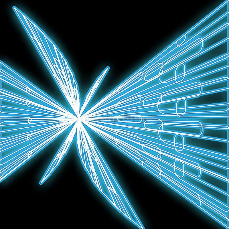 Значок красивого конспекта неоновый голубой яркий накаляя, шильдик от нашивок линий и волн и космос экземпляра на черной предпосы бесплатная иллюстрация