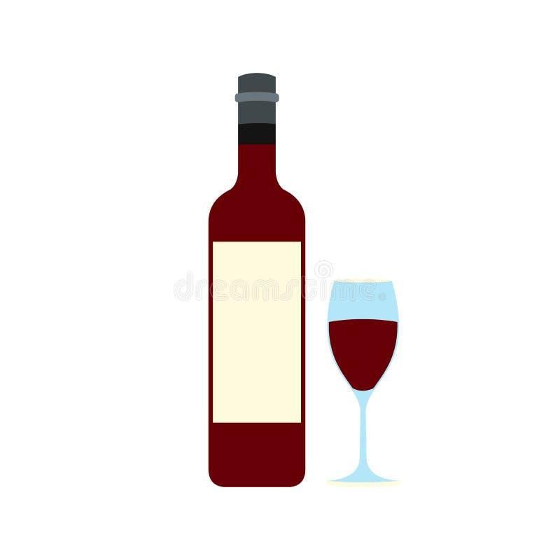 Значок красного вина и стекла бутылки иллюстрация вектора