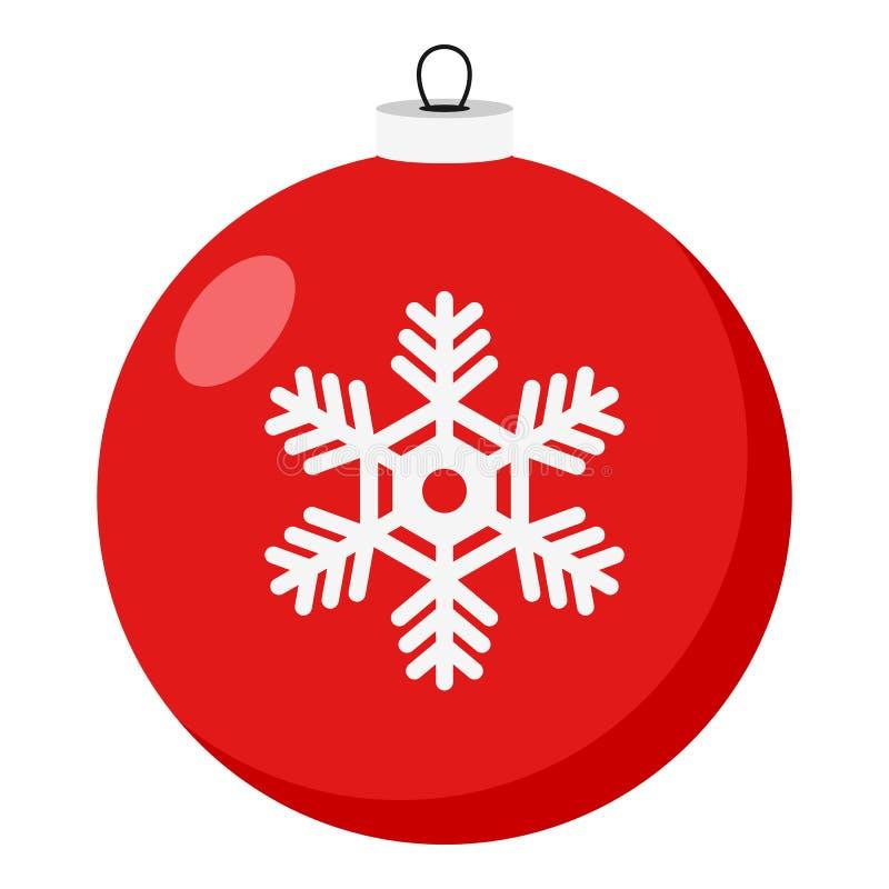 Значок красного шарика рождества плоский на белизне иллюстрация штока