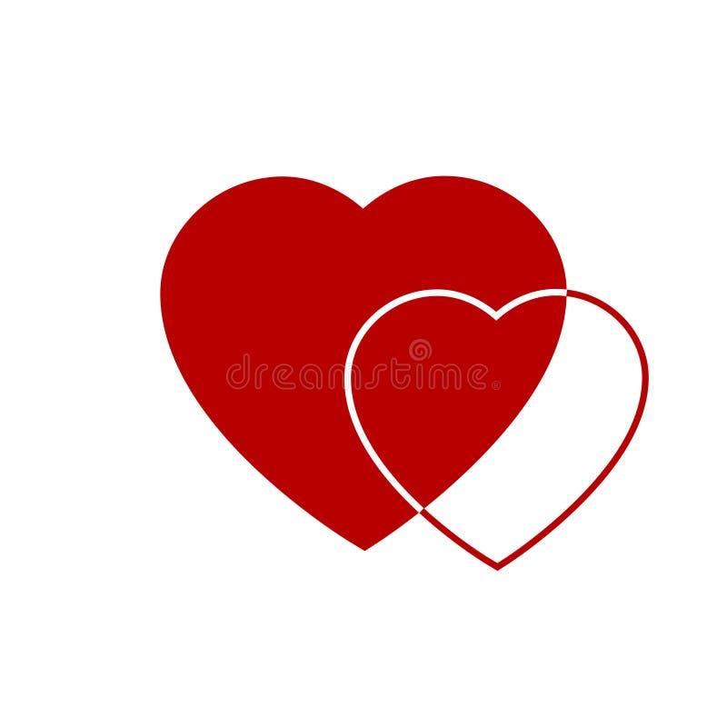 Значок 2 красный сердец Сердца на прозрачной предпосылке значок влюбленности Сердца от поздравительной открытки на день валентинк иллюстрация вектора