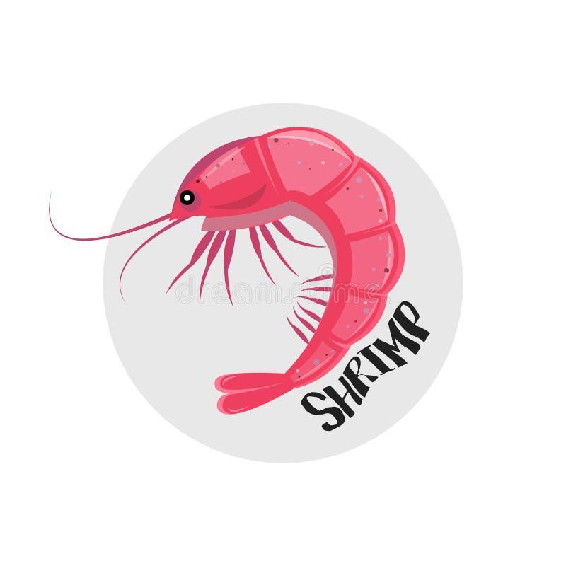 Значок креветки также вектор иллюстрации притяжки corel Значок розовой креветки изолированный на белизне иллюстрация вектора