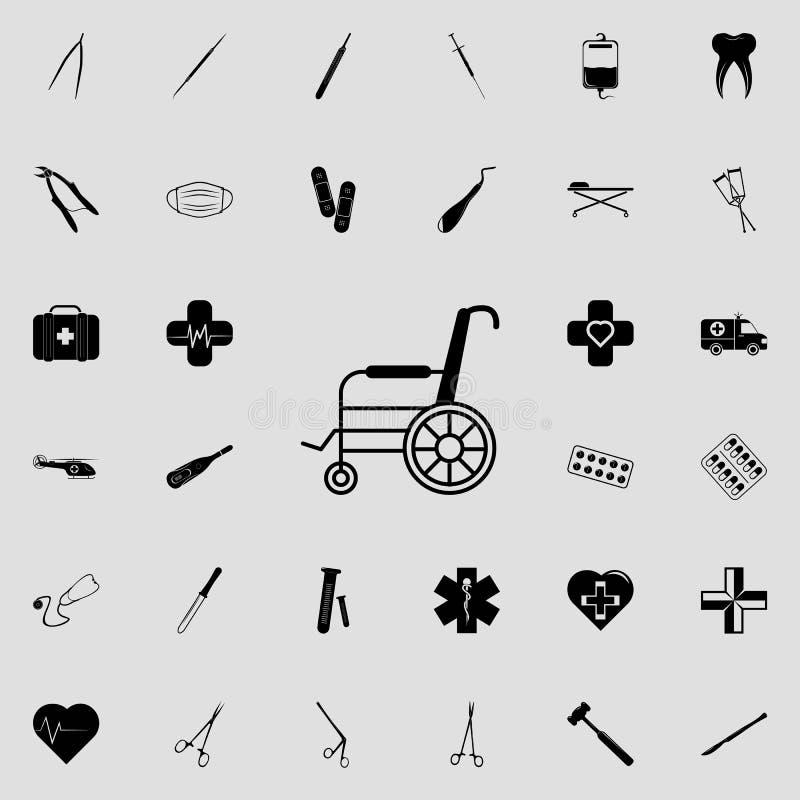 Значок кресло-коляскы Комплект значков медицины всеобщий для сети и черни иллюстрация штока