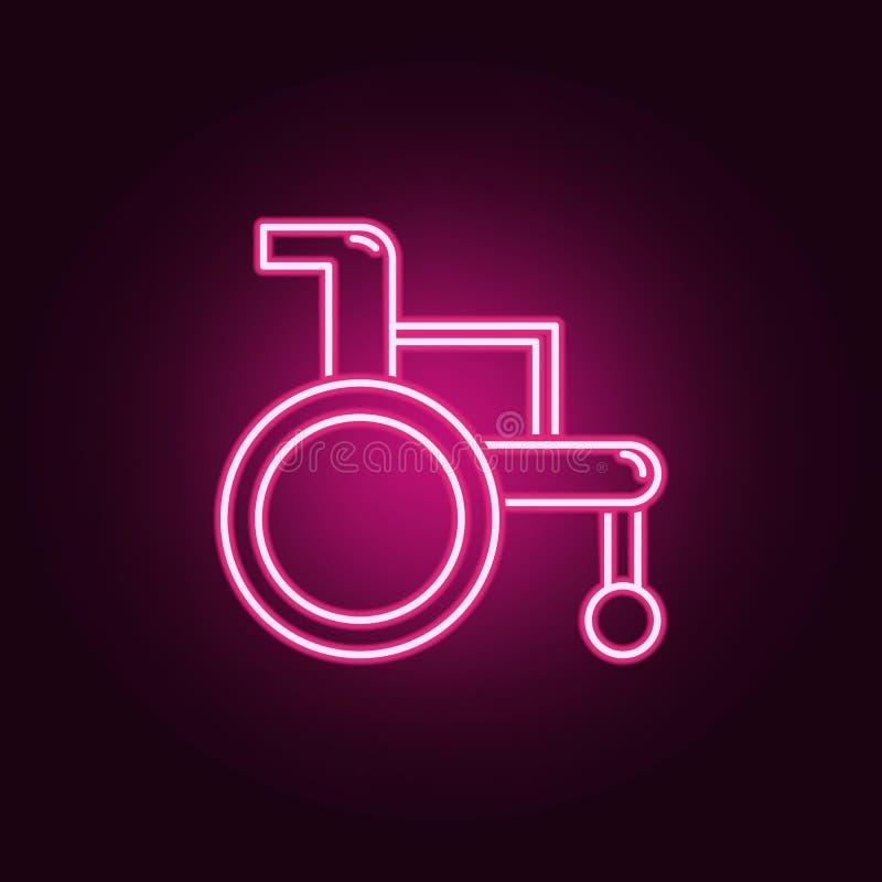 Значок кресло-коляскы неоновый Элементы набора медицины r иллюстрация штока