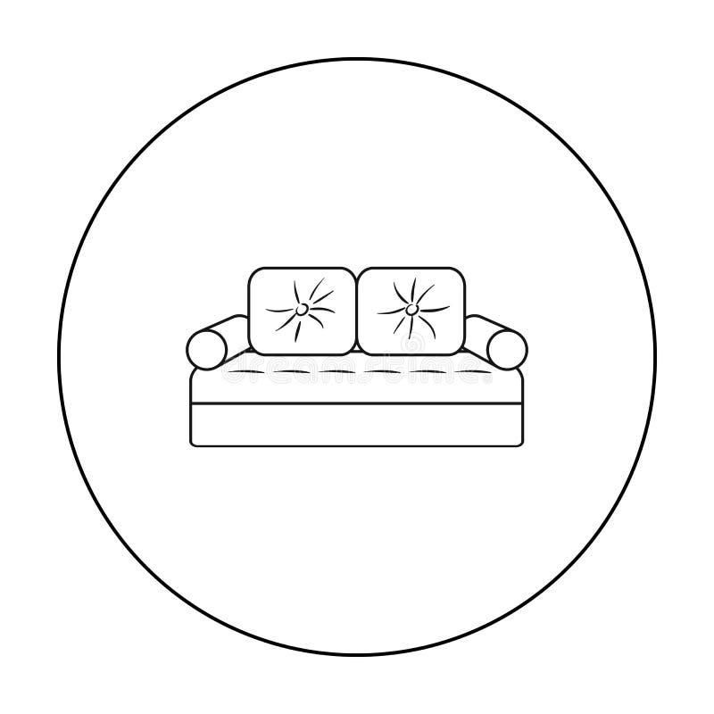 Значок кресла в стиле плана изолированный на белой предпосылке Символ мебели и дома внутренний запасает иллюстрацию вектора иллюстрация вектора