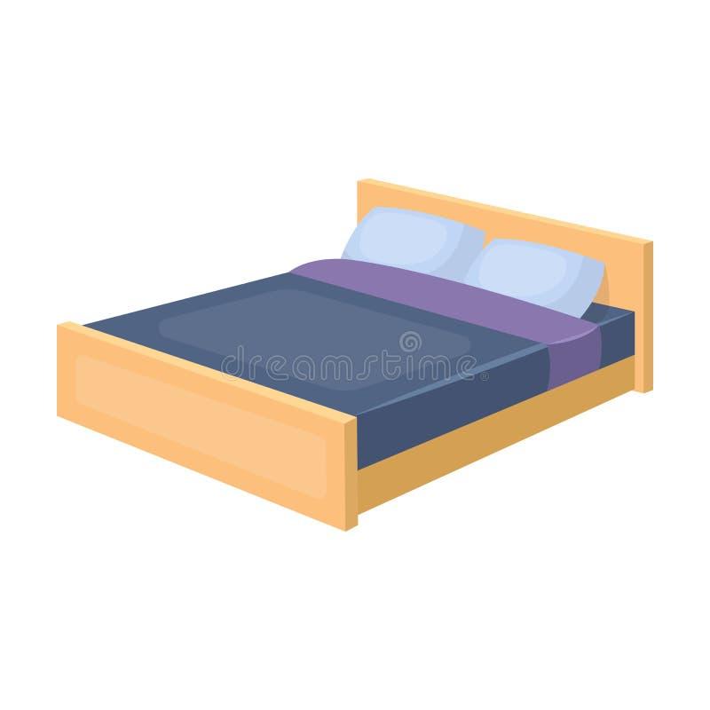 Значок кровати в стиле шаржа изолированный на белой предпосылке Иллюстрация вектора запаса символа сна и остатков бесплатная иллюстрация