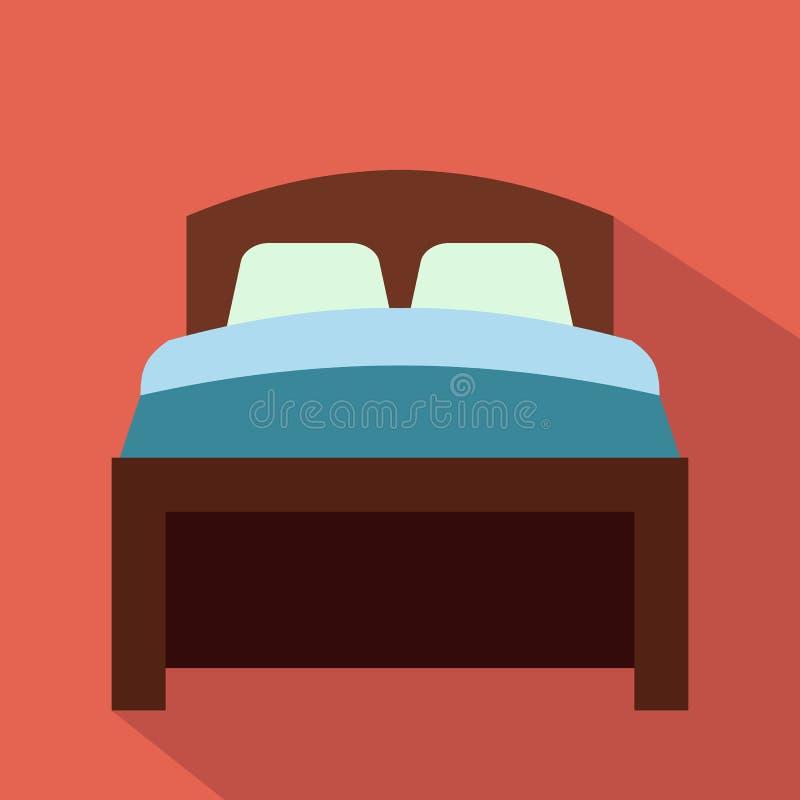 Значок кровати плоский иллюстрация вектора