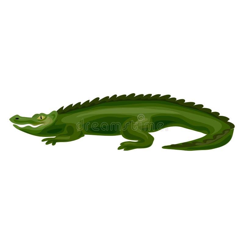 Значок крокодила, стиль шаржа иллюстрация вектора