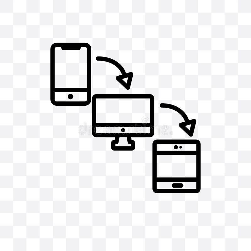 Значок кросс-платформенного вектора линейный изолированный на прозрачной предпосылке, кросс-платформенная концепция транспарентно бесплатная иллюстрация