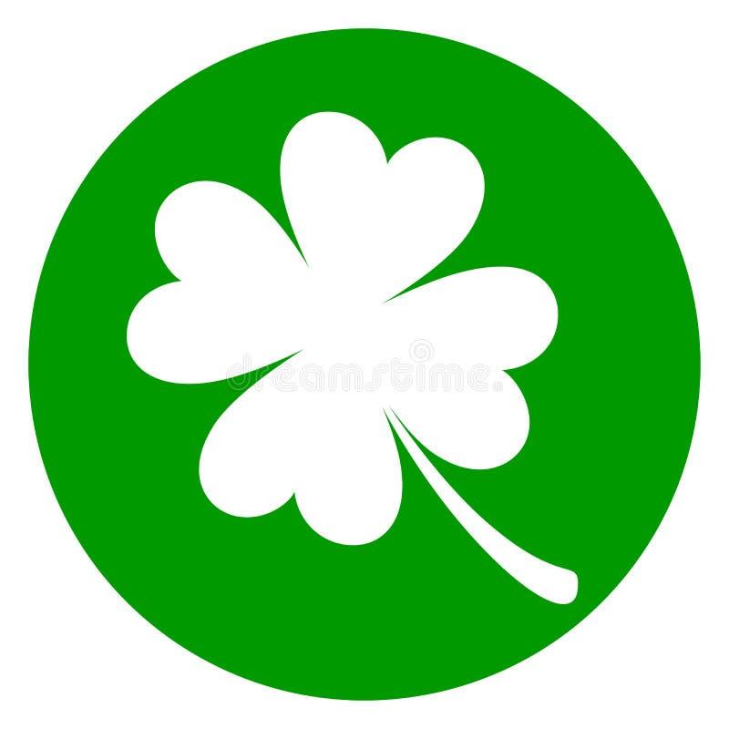 Значок круга клевера зеленый иллюстрация штока