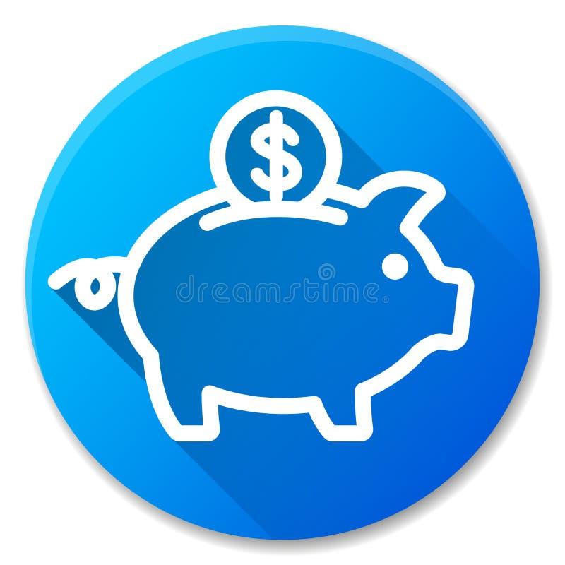 Значок круга копилки голубой бесплатная иллюстрация