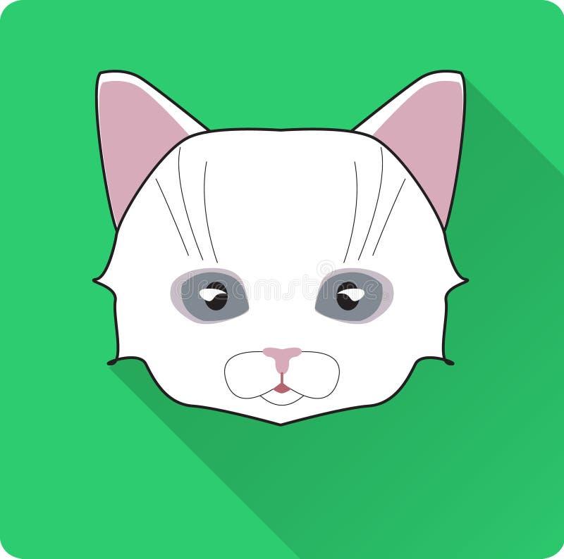 Значок круга стороны кота ночи Плоская иллюстрация вектора дизайна с длинной тенью Символ животного ведьмы бесплатная иллюстрация