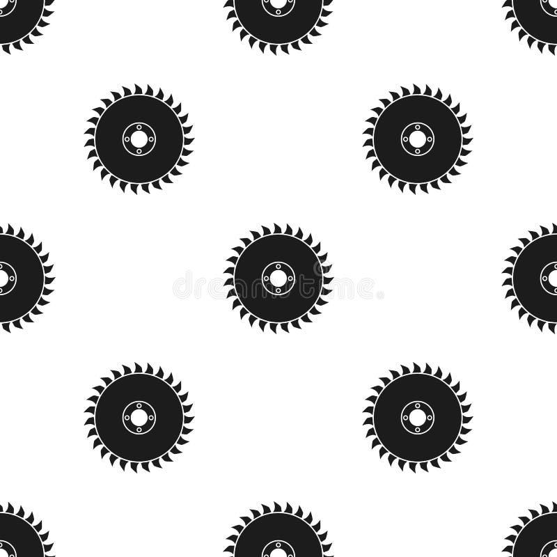 Значок круга циркулярной пилы в черном стиле изолированный на белой предпосылке Иллюстрация вектора запаса картины лесопилки и ти иллюстрация вектора