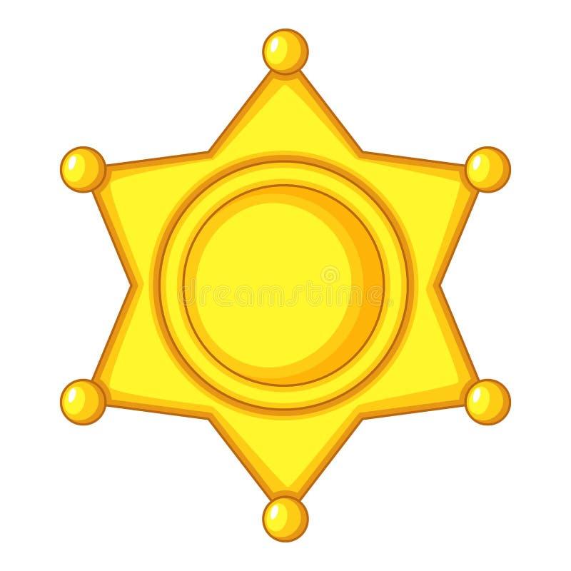 Значок крышки значка звезды шерифа, стиль шаржа иллюстрация вектора