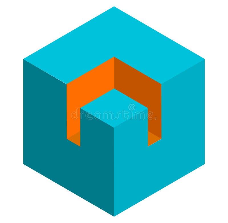 Download Значок куба равновеликого Duotone 3d схематический Геометрический куб для St Иллюстрация вектора - иллюстрации насчитывающей иллюзион, равновелико: 81811598